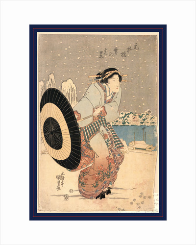 Woman Opening Up a Parasol While Walking in the Snow at Night Near the Motonoyanagi Bridge by Anonymous