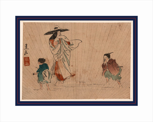 Tokiwa Gozen, Wearing a Large Snow-Covered Hat, Holding an Infant, a Young Man Appears to Be Calling to a Boy by Anonymous