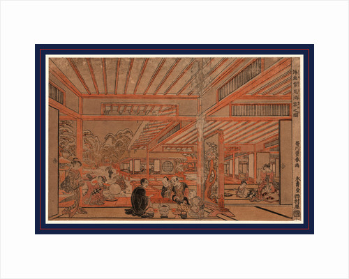 View Through Multiple Rooms of Small Gatherings, Men Playing Board Game, Women Playing with Pets, Drinking Tea, and Outside in the Snow, Rolling Large Snowballs. by Anonymous