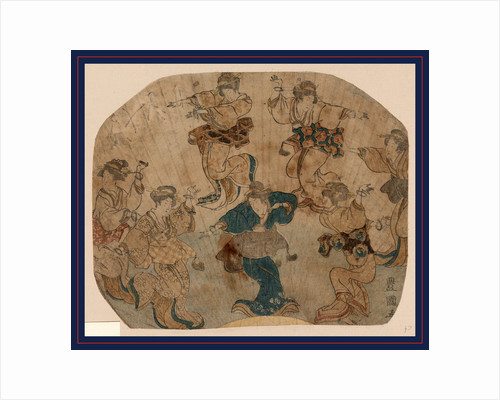 Design on a Fan with Several Figures, Male(?) and Female, Dancing. by Anonymous
