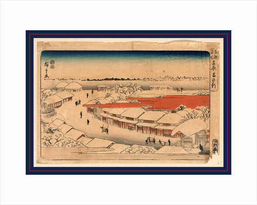 Snow Covered Community in the Morning with Porters Carrying Sedan Chairs, Probably Containing Male Customers, Down the Main Street Leading Away from the Gated Entrance to the Yoshiwara. by Anonymous