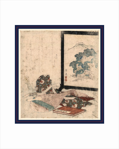 Lute, the Tale of Keike, an Article of Clothing, and a Painted Screen with Natural Scene of Bushes and Mountains. by Anonymous