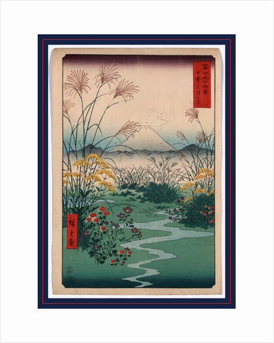 Wild Flowers and a Small Brook in a Field, with Mountains and a View of Mount Fuji in the Background by Anonymous