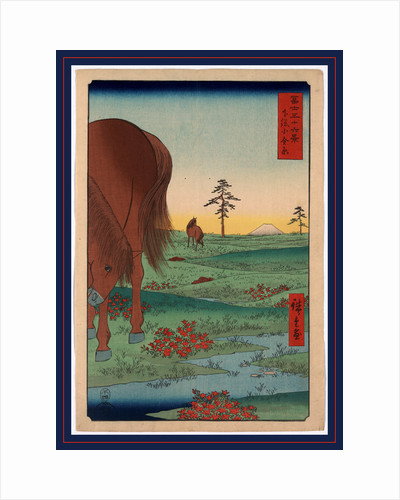 Two Horses Grazing on Open Plains with a View of Mount Fuji in the Background by Anonymous