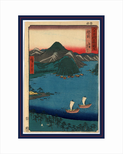Bird's-Eye View of Sailboats on a River, with Mountains in the Distance, at Sunset. by Anonymous