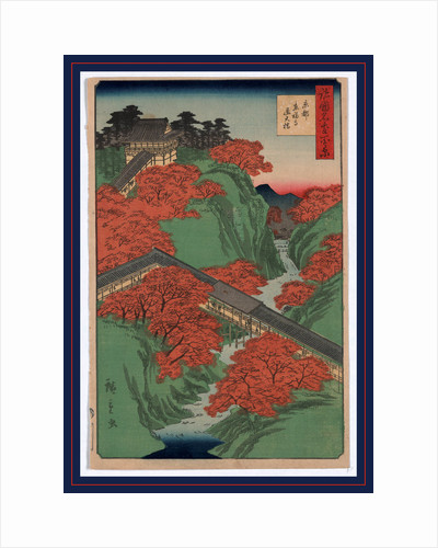 the Tofukuji Temple Atop a Mountain with Long Covered Corridor Leading Down the Mountain and Spanning a River at the Tsuten Bridge, in Kyoto by Anonymous