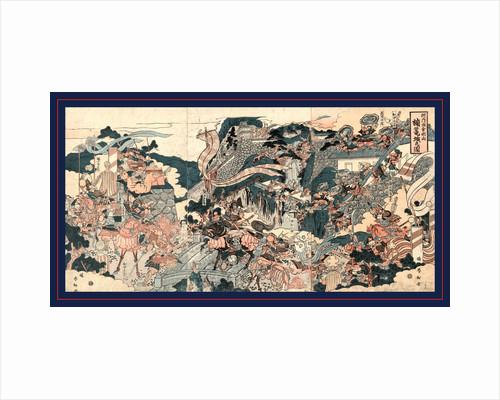 Kusunoki rojo no zu, The warrior Kusunoki barricading himself into Akasaka Castle by Katsukawa Shunko
