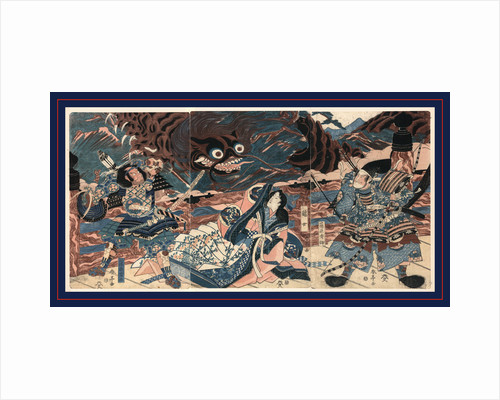 Fujiwara Hidesato and Another Warrior on Board a Ship with a Woman Being Attacked by a Sea Monster by Anonymous