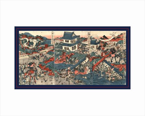 Nanko akasaka rojo no zu, The warrior Kusunoki barricading himself into Akasaka Castle by Katsukawa Shuntei