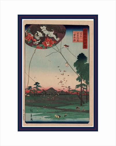 Enshu Akiba Enkei Fukuroi No Tako, Distant View of Akiba of Enshu: Kites of Fukuroi by Anonymous