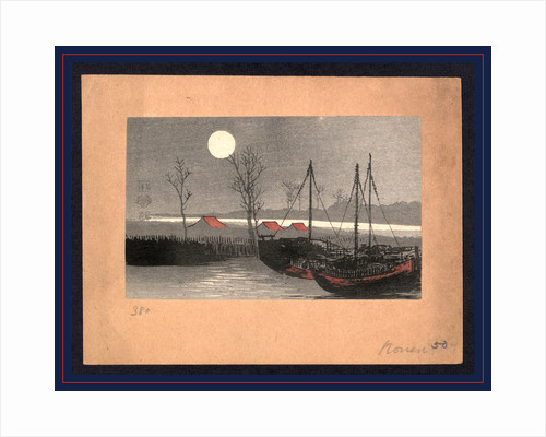 Sailboats at Dock and Low Buildings Under the Light of a Full Moon by Anonymous