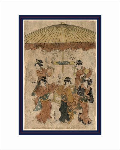 Five Women Dancing Beneath a Large Parasol During the Annual Rice Planting Ritual at the Sumiyoshi Shrine by Anonymous