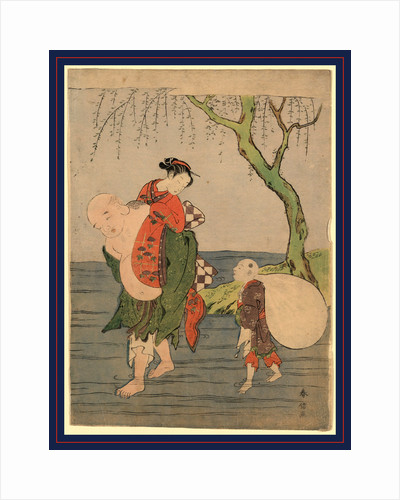 Hotei, One of the Seven Lucky Buddhist Gods, Carrying a Young Woman Across a River by Anonymous