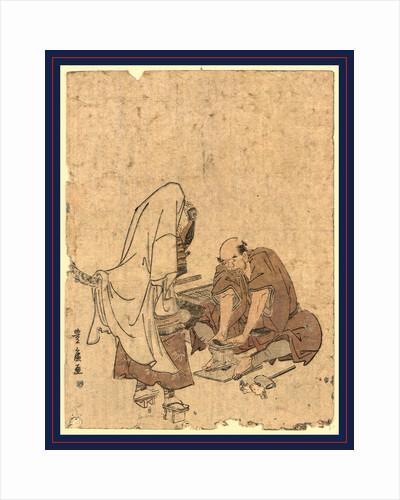 Cobbler Repairing the Young Warrior Ushiwakamaru's Geta. by Anonymous