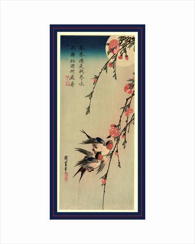 Gekka momo ni tsubakura, Moon, swallows, and peach blossoms by Ando Hiroshige