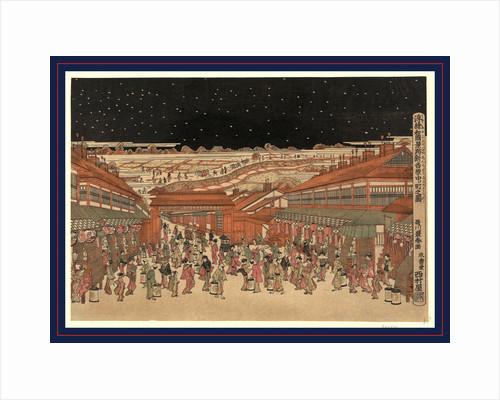 Ukie wakoku no keiseki shin-yoshiwara nakanocho no zu, Perspective picture of famous places of Japan: Nakanocho in Shin-Yoshiwara by Utagawa Toyoharu