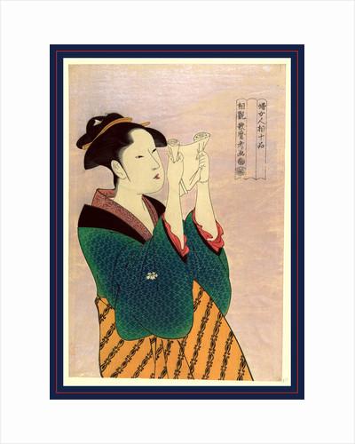Fumiyomu onna, Woman reading a letter by Kitagawa Utamaro