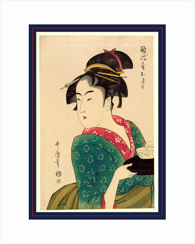 Naniwaya Okita, a Teahouse Waitress, Half-Length Portrait, Turned to the Left, Carrying a Bowl on a Tray by Anonymous