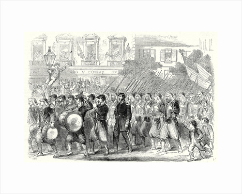 The Civil War in America: The 5th Regiment of New York Zouaves Passing Through Broadway on Their Way to Embark for the War Down South 22 June 1861 by Anonymous