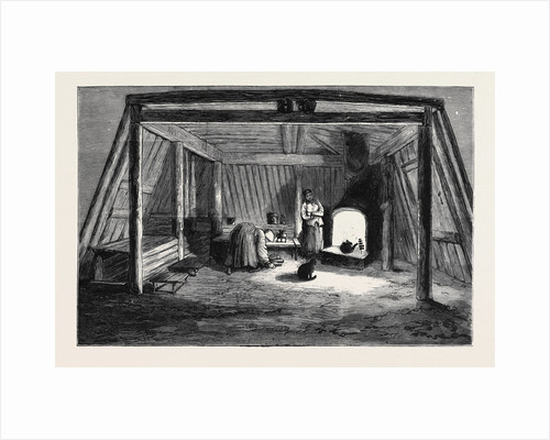 The Survivors of the Jeannette in Siberia: Interior of a Siberian Convict Hut by Anonymous