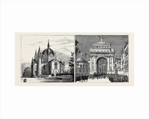 Reception of the Crown Prince of Sweden and Norway and His Bride at Christiana: The Cathedral of the Trinity, the Procession Passing Under the Triumphal Arch in Carl Johan Street by Anonymous