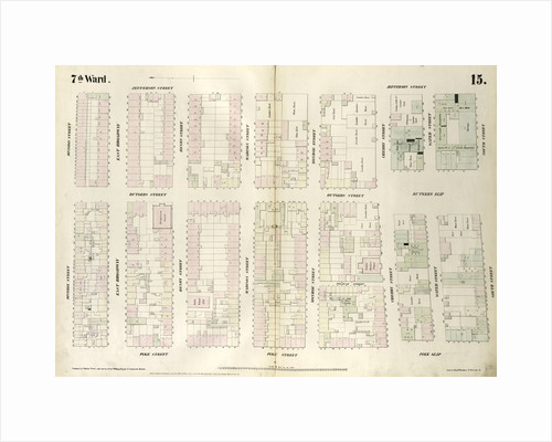 Map bounded by Division Street, Jefferson Street, South Street, Pike Slip, Pike Street. 1852, 1854 by Anonymous