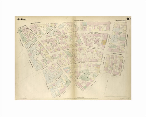 Map bounded by Nassau Street, Roosevelt Street, Oak Street, Oak Street, Pearl Street, Frankfort Street, Cliff Street, Ferry Street, Spruce Street. 1852, 1854 by Anonymous