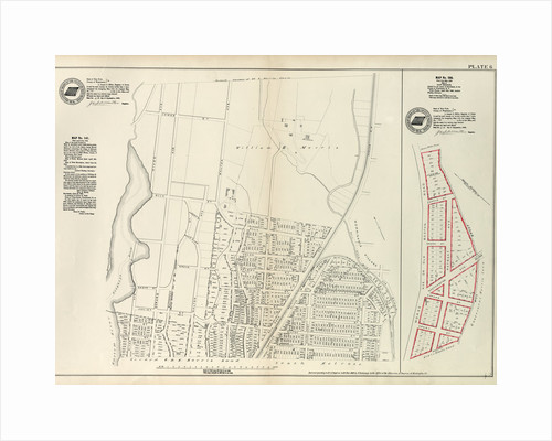 Map No. 141 Bounded by James Street, Wm. Morris Farm, Rail Road Avenue, Prospect Street, Juliet Street, Gerard Street, Henry Street and River Avenue.- Map No. 286 {Bounded by James WElls Land, Mill Brook, Henry Street and Morse Avenue, New York by Anonymous