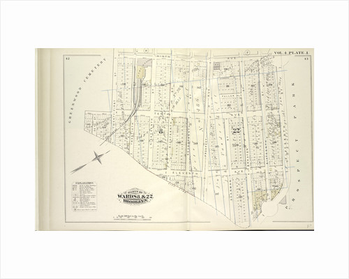 Map bound by Ninth Ave., Prospect Park, City Line, Greenwood Cemetery; Including Howard Pl., Fuller Pl., Tenth Ave., Eleventh Ave., Twenty-Second St., Twenty-First St., Nineteenth St., Eighteenth St., Seventeenth St., Prospect Ave., Sh., New York by Anonymous