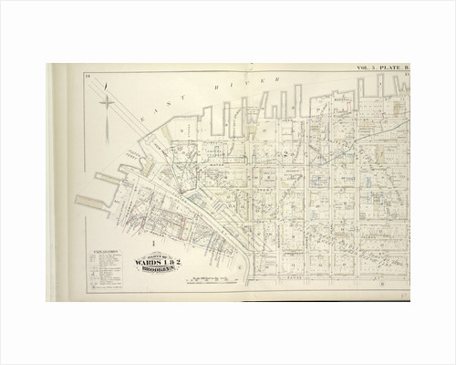 Map bound by East River, Bridge St., Sands St., Poplar St; Including Marshall St., John St., PLymouth St., Water St., Front St., Fulton St., Doughty St., Vine St., York St., Franklin Pl., Talman St., Prospect St., Furman St., Columbia., New York by Anonymous
