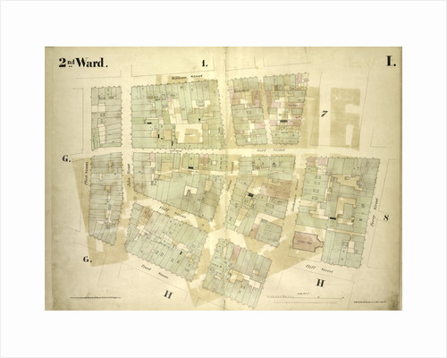 Map bounded by William Street, Beekman Street, Gold Street, Ferry Street, Cliff Street, Pearl Street, Platt Street; Including Riders Alley, Cliff Street, John Street, Fulton Street, New York by Anonymous