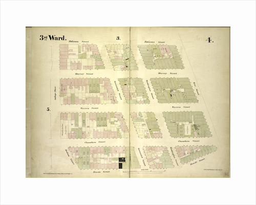 Map bounded by Robinson Street, West Street, Reade Street, Hudson Street, College Place; Including Murray Street, Warren Street, Chambers Street, Greenwich Street, Washington Street, New York by Anonymous