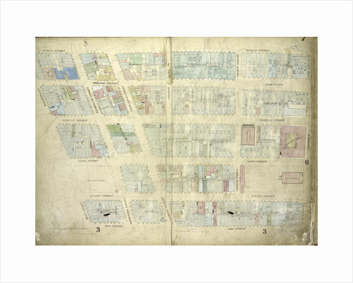 Map bounded by Murray Street, Broadway, Dey Street, West Street; Including Robinson Street, Park Place, Barclay Street, Vesey Street, Fulton Street, Washington Street, Greenwich Street, College Place, Church Street, New York by Anonymous