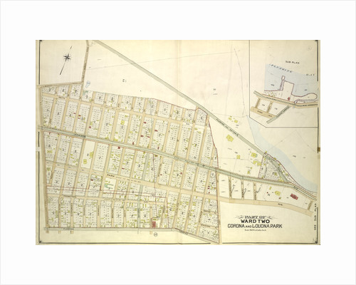 Map bounded by Old Bowery Road, Flushing and Astoria Road, Coddington PL; Including Park Ave., Lent St., Flushing Turnpike, Junction Ave; Sub Plan, New York by Anonymous