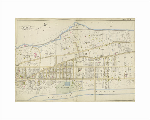 Map bounded by Hudson River, Harlem River, New York by Anonymous