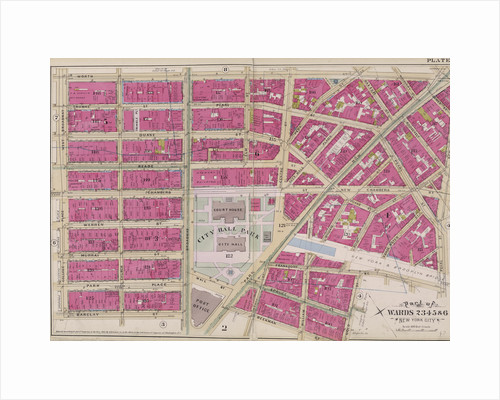Map bounded by Worth St., New Bowery, Pearl St., Cold St., Beekman St., Barclay St., College Place, West Broadway, New York by Anonymous