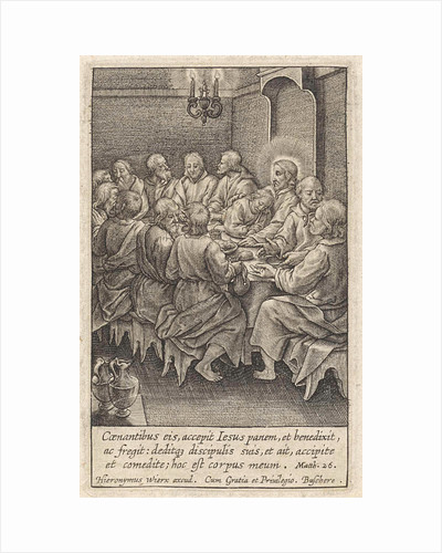 Last Supper, Christ and his disciples around a table by Hieronymus Wierix
