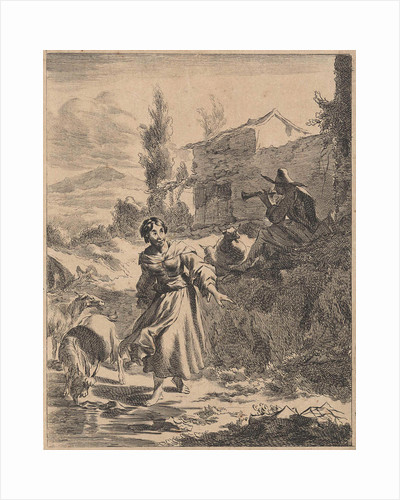 In a hilly landscape is a shepherd playing the flute while a shepherdess lets her goats drink from a pond by Jan de Visscher