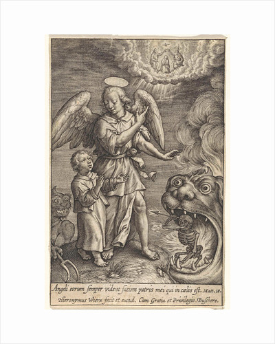 Child with guardian angel by Hieronymus Wierix