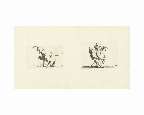 Dwarf with sling, stool and sword; Dwarf with walking stick by Abraham Bosse