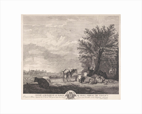 Landscape with cows by Charles-André-Melchior baron van Proli