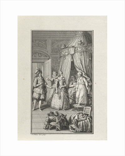 Three richly dressed figures enter a room. Lovers caught by surprise by Jacob Folkema