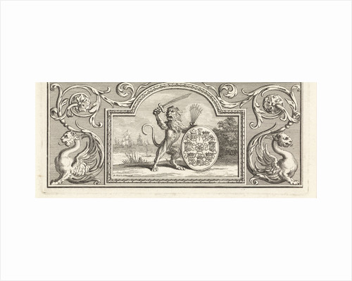 The Dutch lion holding a sword and quiver of arrows near a shield bearing the arms of the Seven Provinces by Workshop of Bernard Picart