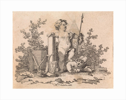 Two putti with allegorical attributes by Reinier Vinkeles