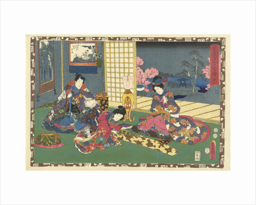 Elegantly dressed man and woman sitting on pillow, looking at woman playing the koto by Murata Heiemon