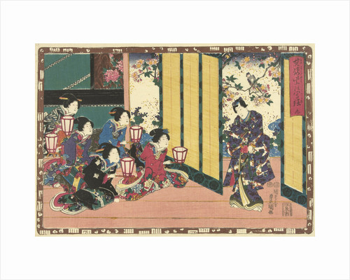 Five women sitting with hand lanterns, watching Prince Genji against a background of a flowering tree and a bird by Magome Kageyu