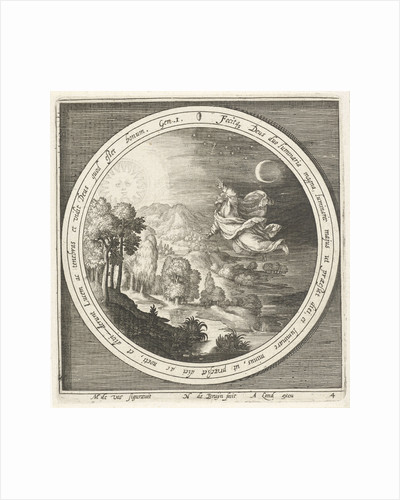 Fourth day of creation, God creates the sun, moon and stars by Assuerus van Londerseel