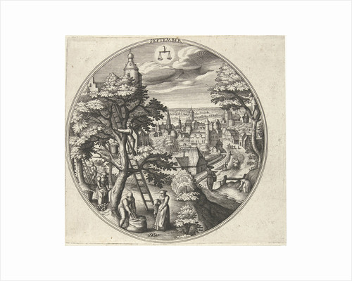 Round table with an autumn landscape and autumn scenes by Adriaen Collaert