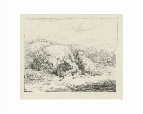 Lying sheep with two lambs by William Young Ottley