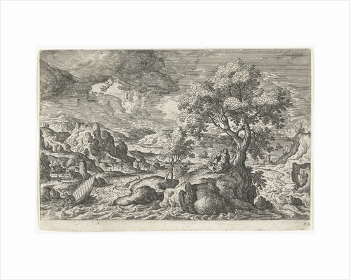 A hermit who in the company of a bird lives on a small island, has a vision by Hans Bol